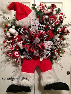Christmas Santa wreath, christmas pine wreath, santa wreath, christmas wreath, christmas door hanger, christmas wreath front door, wreath by Wreathsbysilvia on Etsy