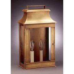 Pagoda Antique Brass Wide Two Light Outdoor Wall Lantern Northeast Lantern Wall Mounted
