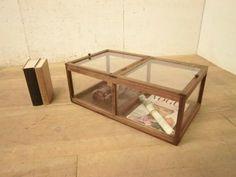 Glass Case T315アンティーク小振りな古い木枠ガラスケース検収納箱 インテリア 雑貨 家具 Antique ¥15000yen 〆06月28日