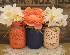 SALE Set of 3 Pint Mason Jars Painted Mason by RusticGlamDesigns