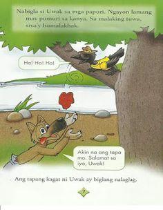 Teacher Fun Files: Maikling Kwento: Si Uwak at si Asong Gubat Kids Stories, Short Stories For Kids, Kids Story Books, English Grammar Worksheets, Visual Aids, Borders For Paper, Tagalog, Myla, Reading Passages