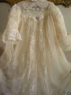 Exquisite  ETHEREAL ANTIQUE LACE Couture Christening Gown Dress