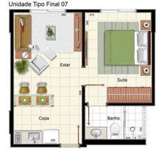 Casa com um quarto e pequena