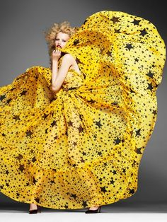 Yellow Dress with Black Stars - Inspiration by Color