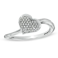 1/8 CT. T.W. Diamond Cluster Tilted Heart Ring in Sterling Silver - Size 7
