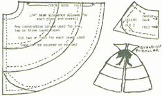 "12"" doll's cape pattern from an 1886 Delineator.  Four capes in 2 styles from one pattern by using any combination shown for one, two or three layer capes, collar or collarless. Cut two on fold for each layer used. Cape can be squared or rounded. ¼"" seam allowance. Pattern shown actual size for 12"" doll; can easily be reduced or enlarged.     Any fabric is suitable including eyelets for summer dresses. Many movies featured these capes as theater or opera wear in black velvet lined with brilliant..."