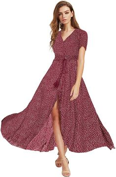 Amazon.com: Milumia Women Button Up Floral Print Party Split Flowy Maxi Dress Red Large: Clothing Party Wear Dresses, Fall Dresses, Nice Dresses, Evening Dresses, Formal Dresses, Fall Family Outfits, Classy Outfits For Women, Maxi Dress Wedding, Classy Dress