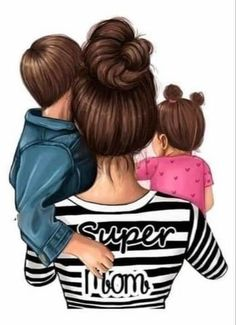 Mother And Daughter Drawing, Mother Art, Mom Daughter, Mother And Child, Cartoon Girl Images, Girl Cartoon, Love Children Quotes, Sarra Art, Baby Drawing