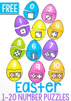 This is a fun Easter Egg Puzzle For Number Sense for preschoolers or kindergarteners. Use these pieces on their own or add to a sensory bin for tons of fun. #easteregg #numbersense #kindergarten #prek #preschool #simplemath via @lifeovercs