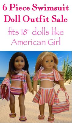 "6 piece Swimsuit Doll Outfit: $10.85! {fits 18"" dolls like American Girl!}"