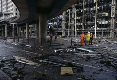 Aftermath of IRA Docklands bombing, Canary Wharf, Wales, 1996, photograph by Chris Steele-Perkins.