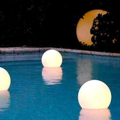 39 Creative Landscape Lighting Designs For More Attractive Backyard Backyard Lighting, Outdoor Lighting, Lighting Ideas, Sphere Light, Landscape Lighting Design, Concrete Fire Pits, Patio Accessories, Modern Outdoor Furniture, Wooden Furniture