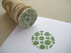 Styrofoam stamp attached to a cork: