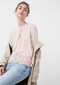 Blusa panel blonda -  Mujer | MANGO España