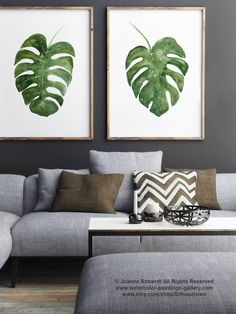 Monstera Deliciosa Plant Art Print set 2 Leaves Green