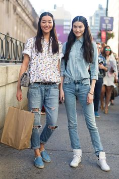 Liu-Wen-Sui-He-Melodie-Jeng-NYFW-1936 Denim street style - New York Fashion Week SS14 -Chinese models - click to see more - Melodie Jeng