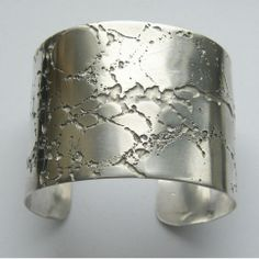 'Crevice' Sterling Silver Etched Cuff Bracelet - Tracy Hills Jewellery