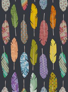 Feather Pattern Print would make a nice wallpaper or fabric pattern Motifs Textiles, Textile Patterns, Surface Pattern Design, Pattern Art, Feather Pattern, Feather Print, Feather Design, Pattern Illustration, Feather Illustration