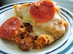 Easy Pizza Pasta Casserole (OAMC) from Food.com:   This is a kid pleaser-very cheesy and topped with pepperoni. It makes 2 large (9x13) casseroles or 4 small ones; I often divide it in fourths and freeze 3. This originally came from TOH's Quick Cooking.