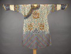 622ef2ae0b9ec4 Longpao (dragon robe) of gold silk satin, embroidered in coloured silk with  twelve