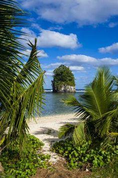 Single Rock at Coconut Point on Tutuila Island, American Samoa, South Pacific, Pacific