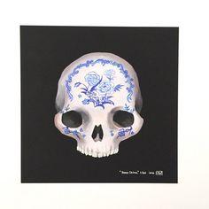 "Limited edition 8x8"" print, ""Bone China"" asian inspired skull art, skeleton, bones, anatomy, blue china, giclee print, creepy morbid 5/50"