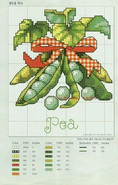 Pea Vegetable cross stitch pattern icon with DMC labeling Cross Stitch Fruit, Cross Stitch Boards, Cross Stitch Kitchen, Cross Stitch Love, Cross Stitch Flowers, Cross Stitch Designs, Cross Stitch Patterns, Cross Stitching, Cross Stitch Embroidery