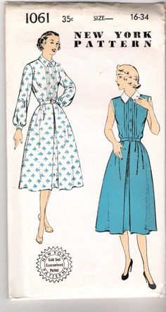 1950's Tuxedo Blouse Day Dress Pattern UNUSED by hotrodqueen1955, $15.00 NY Patterns 1061