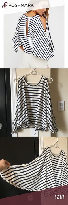 ⚡️NWT//Free People Full Moon Tee 🌙 NEW WITHOUT TAGS. Free People BEACH Item has never been worn other than tried on twice. Comfy cotton tee featuring relaxed striped print and dolman style sleeves with an open design. Free People Tops Blouses