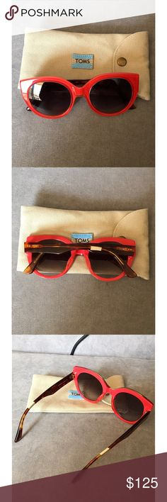 ✨NWOT✨ toms luisa sunglasses 🌷🌻PERFECT FOR SPRING🌻🌷 ☀️🕶PERFECT FOR SUMMER🕶☀️  brand new, never worn! orangey red and tortoise colored luisa sunglasses from toms. 😎 comes with the soft cover carrying sunglasses case. very cute and oversized. they don't sell this color anymore!!   ‼️💲MAKE ME A REASONABLE OFFER💲‼️ 💰💸BUNDLE FOR A DISCOUNT💸💰 TOMS Accessories Sunglasses