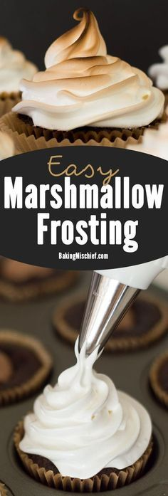 Light and fluffy marshmallow frosting. Delicious to eat and easy to make! Recipe includes nutritional information. From http://BakingMischief.com
