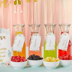 Mimosa Bar 10-Piece Kit - Gold Glitter | Kate Aspen Bridal Shower Drinks, Bridal Shower Planning, Bridal Shower Decorations, Bridal Shower Signs, Desserts For Bridal Shower, Bridal Shower Party Favor, Bridal Showers, Wedding Shower Foods, Bridal Party Foods
