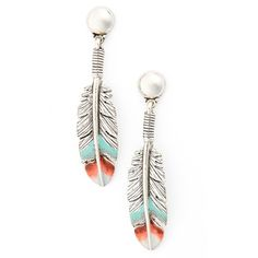Women's Gas Bijoux Penna Drop Earrings ($58) ❤ liked on Polyvore featuring jewelry, earrings, orange, feather earrings, feather jewelry, gas bijoux, drop earrings and orange jewelry