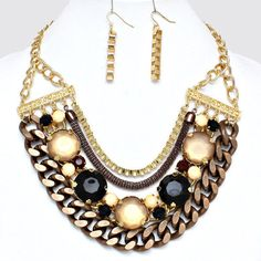 Multilayer Chocolate Brown Black White Gold Chain Bib Earring Necklace Set