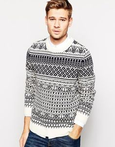 Selected Wool Mix Jumper With All Over Geo & Fair Isle Jacquard