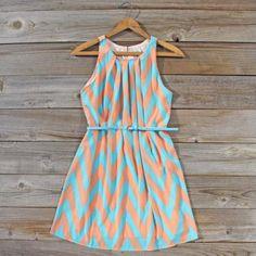 Peaches & Clover Chevron Dress, Sweet Women's Bohemian Clothing