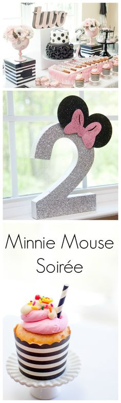 Adorable and fresh Minnie ideas. More from my siteMickey and Minnie Mouse planters for the twins birthdayminnie mouse party ideas Minnie Mouse Party, Mickey Party, Second Birthday Ideas, 3rd Birthday Parties, 2nd Birthday, Birthday Gifts, Decoration Minnie, Birthday Decorations, Fete Emma