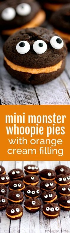 Look no further for the perfect Halloween classroom party or get together treat!  These Mini Monster Chocolate Whoopie Pies with Orange Cream Filling couldn't be easier to create.  No one would ever guess that the secret ingredient for both components for this recipe is milk!