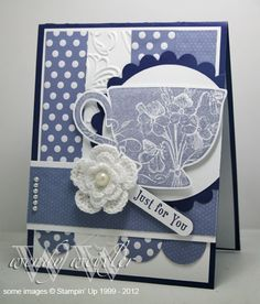 Tea Shoppe and Sweet Shop DSP - lovely combo Stampin Up tea cup card Coffee Cards, Scrapbook Cards, Scrapbooking, Mothers Day Cards, Pretty Cards, Card Sketches, Card Tags, Cool Cards, Greeting Cards Handmade
