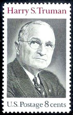 Harry S TRuman 1973 Issue-8c.The 8-cent Harry S. Truman postage stamp was designed by Bradbury Thompson and first placed on sale at the Post Office at Independence, Missouri, on May 8, 1973.