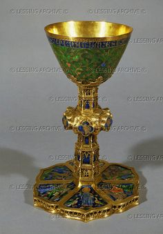 Chalice of the Duchess of Mallorca, from Barcelona, Spain. Gold and enamel (mid 14th) Size: 24 cm OA 3359