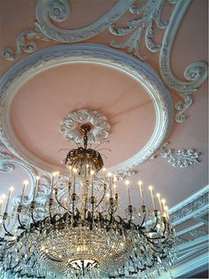 Shabby Chic Ornate Ceiling,mCoral with White Scrolling, with Chandelier Pink Ceiling, Ceiling, Chandelier, Decor, Color, Inspiration, Beautiful Chandelier, Beautiful Lighting, Color Inspiration