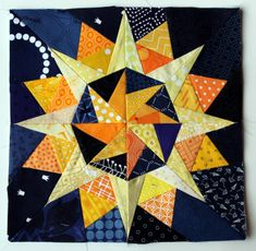 Starry night Cactus Compass block - free paper piecing blocks
