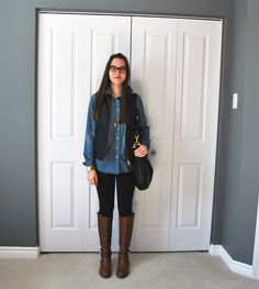 #jcrew quilted excursion vest with chambray shirt, jeggings, and #ToryBurch Amanda riding boots
