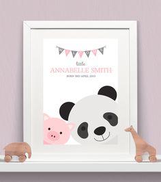 Personalised Baby Print - Peeking Animals - Piggy & Panda