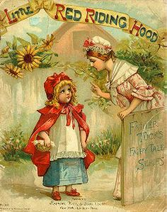 Little Red Riding Hood - vintage Children's Books.with illustrations and wonderful covers Vintage Children's Books, Vintage Postcards, Pull Wagon, Red Ridding Hood, Wolf, Vintage Fairies, Red Hood, Little Red, Nursery Rhymes