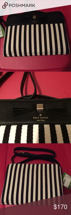 "Kate Spade Purse 💥Firm Price💥Black and white...Top zip closure... adjustable crossbody strap with a drop length of 22""... lined interior with one pocket.. dimensions are 9""x6""x2"" kate spade Bags Crossbody Bags"