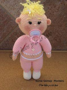 Muñeco Amigurumi Bebe con Chupete de Quita y Pon ( con imanes) - Patrón Gratis en Español Amigurumi Patterns, Amigurumi Doll, Doll Patterns, Crochet Patterns, Crochet Owls, Crochet Animals, Crochet Baby, Doll Toys, Baby Dolls