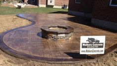 wonder if this would be cheaper/easier than laying a paver patio? Stamped Concrete Patio With Fire Pit Design Ideas 12428 Patio Ideas Design Concrete Patios, Concrete Patio Designs, Concrete Fire Pits, Fire Pit Backyard, Patio Diy, Pergola Patio, Backyard Patio, Patio Ideas, Pergola Ideas