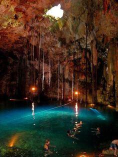 A natural swimming pool in a limestone cave near Chichen Itza, Yucatan, Mexico...